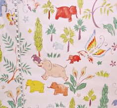 Clarence House fabric elephant girly pink chintz from Brick House Fabric: Novelty Fabric
