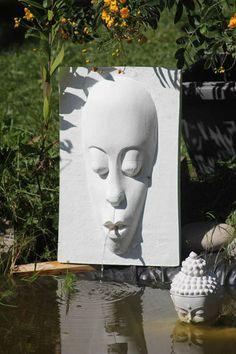 Wasserspiel Maske - Steinguss für den Aussenbereich