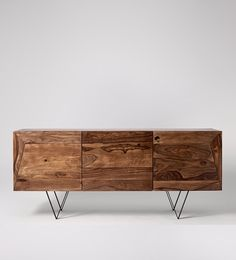 Swoon Editions Media unit, Mid-century style in Mango wood - £269 Small Sideboard, White Sideboard, Bespoke Furniture, Modern Furniture, Furniture Design, Furniture Making, Living Room Furniture, Industrial Console Tables, Buffet