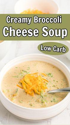 Keto Broccoli Cheese Soup, Broccoli Soup Recipes, Keto Soup, Healthy Soup Recipes, Low Carb Recipes, Diet Recipes, Cooking Recipes, Low Carb Keto, Tasty Meals