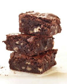 Fudgy Pecan Brownies | Martha Stewart Living - Cornstarch helps give these brownies structure, just as the gluten in flour would. We added toasted pecans, but walnuts or hazelnuts would also be delicious here.