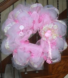 BABY GIRL WREATH   IT'S A GIRL  $60.00 PLUS SHIPPING.. INTERESTED  TEXT 903 279 3472 MADE WITH DECO MESH AND TULLE ,RIBBON AND ORNEMENTS