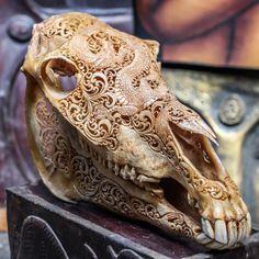 SALE - Hand Carved Dragon Horse Skull Real Mule/ Animal Skull Bone with Teeth/ Vintage Taxidermy