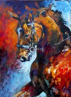 Portrait of my mare Bellavita/ 2015 Oilpainting Cath.: schilder / tekenaar » Paarden