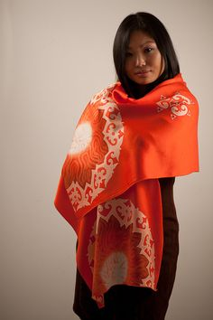 Orange Red Silk Scarf with hand painted Batik Fabric, bright and summery by BorneoBatikraft