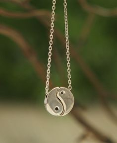 Sterling Silver Divided Yin Yang Necklace