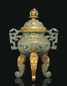 A CLOISONNE ENAMEL TRIPOD CENSER AND COVER - CHINA, QING DYNASTY, QIANLONG PERIOD (1736-1795).