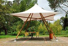 Pergola With Retractable Canopy Kit Architecture Design, Bamboo Architecture, Bamboo Structure, Shade Structure, Bamboo Building, Green Building, Diy Pergola, Pergola Ideas, Bamboo Roof