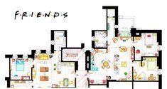 Apartamentos de Chandler y Joey (izquierda) y Monica y Rachel...