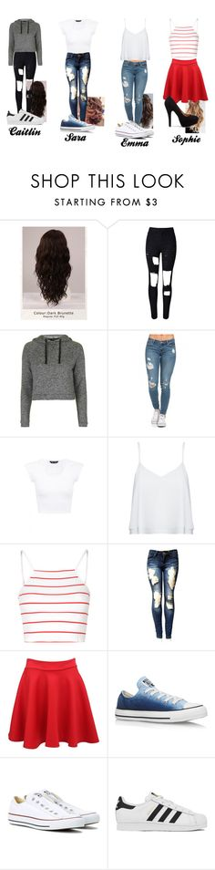 """Tour day 5: cses"" by wannabextumblr ❤ liked on Polyvore featuring WigYouUp, Topshop, Alice + Olivia, Glamorous, Pilot, Converse and adidas"