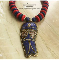 #Red #Threaded #Fish #Style #Pendant #Neckpiece is perfect for the beach party. CASH ON DELIVERY available.