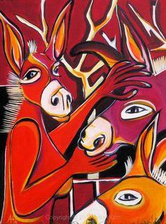 Besuch, 60x80cm acryl auf karton, 2011