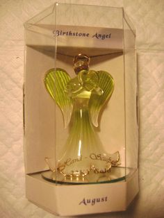 *(*AUGUST*)GLASS BIRTHSTONE ANGEL TRIM IN GOLD-WITH MATCHING NECKLACE W/STONE