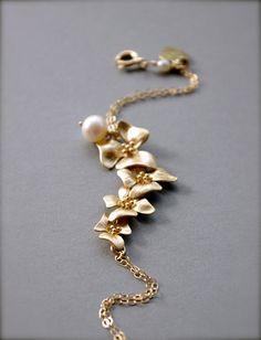 Gold Flower Bracelet  Gorgeous Original Design by SarahOfSweden