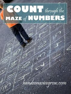 A maze to count your way through. Set up a grid of numbers with sidewalk chalk! Walk through it, drive through it, etc.