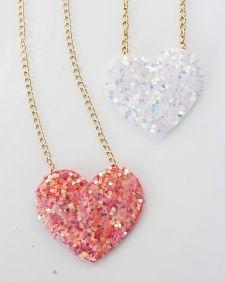 DIY Glitter Heart Necklace - Foam, chain & glitter- Martha Stewart Blogs