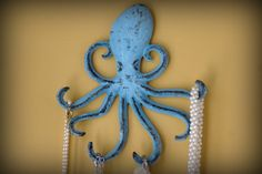 Sea life gift: Cast Iron Octopus Hook. $18.50 Can be used to hold jewelry, keys, towels... a little organizer for anywhere in the home.