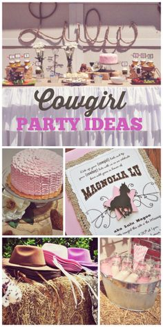 A pink ruffle cake, milk bottles and invitation are included at this cowgirl birthday party!  See more party ideas at CatchMyParty.com!