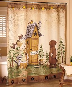 "Nature Calls Bathroom Collection offers ""bathroom humor"" with a whimsical touch. Set the scene with the polyester Shower Curtain (70""W x 72""L). Machine wash. © 2016 L.C.L"