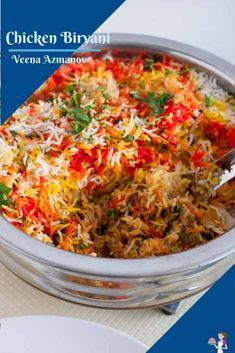This Indian chicken biryani is yogurt marinated chicken cooked under aromatic basmati rice flavored with spices and garam masala. It also includes golden fried onions and saffron or food color for that vibrant authentic look. #ChickenBiryani #IndianBiryani #HyderabadiBiryani #BestBiryani #Biryani Chicken Biryani Recipe Indian, Indian Chicken, Curry Recipes, Healthy Recipes, Rice Recipes, Healthy Food, Cooking Recipes