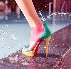 Neiman Marcus multicolor block shoes