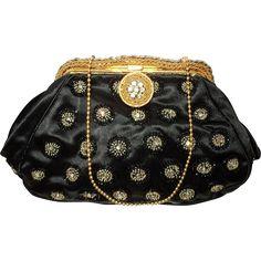 Vintage 1930 French Silk Beaded Evening Bag Brass Golden Metal Frame Filigree Crystals