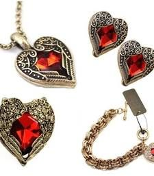 Valentine Heart Combo- Red Heart Necklace set- Set of 4 items shop online Rs 1215