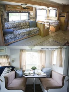 Before and after camper renovation