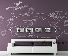 World map wall decal Map wall sticker Photo frame by HomeDecorZone, $49.98