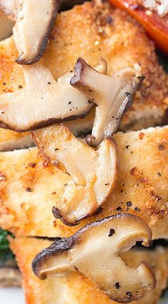 Crispy Seared Chicken Breasts with Garlic Kale and Shiitake Mushrooms