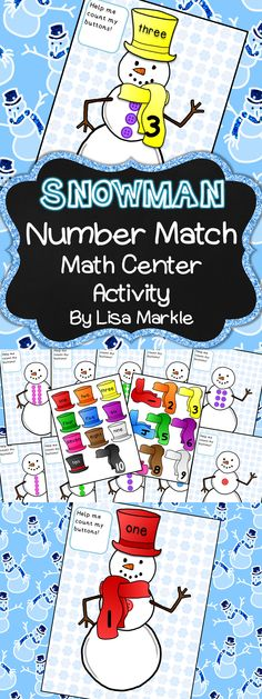 Improve your students' number and number word recognition skills with this cheerful snowman math center activity! There are ten snowman counting mats. Each snowman has a different amount of buttons on his belly from one to ten. The scarves have numbers 1-10 and the hats have number words one to ten, so you can do one or both according to your class's academic needs! Cut, laminate, and attach Velcro for a great independent math center activity!   Let it snow, let it snow, let it snow!