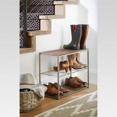 3 Tier Shoe Rack with Rustic Oak Finish Top Gray Metal - Threshold , Gray Brown Wood Shelving Units, Wood Shelves, Storage Shelves, Shoe Storage, Shoe Rack Grey, 3 Tier Shoe Rack, Hanging Shoe Organizer, Cube Organizer, Boot Organization