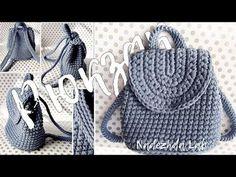 РЮКЗАЧОК из трикотажной пряжи крючком + СХЕМА - YouTube Diy Crochet Bag, Crochet Bag Tutorials, Crochet Crafts, Crochet Videos, Crochet Backpack Pattern, Crochet Purse Patterns, Crochet Patterns Amigurumi, Crochet Handbags, Crochet Purses
