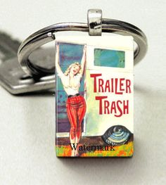 Domino Size Glass Metal Frame Key Chain-Trailer Trash Pin Up Sexy Funny Humor Retro on Etsy, $8.00