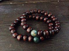 Men's Wooden Bead Mala bracelet, Mala Bracelet, Men's bracelet, Green Jasper Bracelet, Mala, For him, Meditation, Men's jewelry, zen