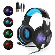 EasySMX ColorChanging Breathing LED Light Wired Gaming Headset PC Headset with Microphone 35mm Stereo Overear Headphones for PC Laptop Computer Volume Control Onekey Mute Black and Blue *** Check this awesome product by going to the link at the image.Note:It is affiliate link to Amazon.