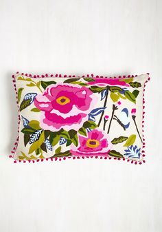 Your Best Efflorescence Pillow by Karma Living - Multi, Pink, Floral, Print, Poms, Spring, Better, Embroidery