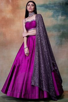 VVANI BY VANI VATS Featuring a purple lehenga skirt in raw silk and georgette base with sequins and hand embroidery. It is paired with a matching blouse and dupatta. Party Wear Indian Dresses, Designer Party Wear Dresses, Indian Gowns Dresses, Indian Bridal Outfits, Party Wear Lehenga, Indian Fashion Dresses, Dress Indian Style, Indian Designer Outfits, Indian Wedding Gowns