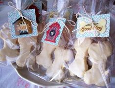 Puppy Party Ideas - Design Dazzle - Wrap treats and attach a business card, you can hand them out as Paw-ty favors!