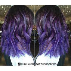 Pretty in Purple. Love this purple hair color dimensional design and textured haircut by Jonah Crescencio hotonbeauty.com