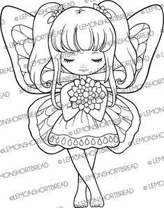 Digital Stamp Floral Fairy Curtsy Digi Download Spring Summer Butterfly Flower Fantasy Clip Art Scrapbooking Supplies