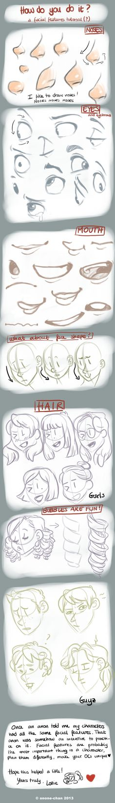 Facial features tutorial. Created by Onone-chan from Deviant Art