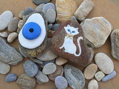 Durma Yarat: Taş boyama | Oda dekorasyonu Nazar boncuğu ve kedi