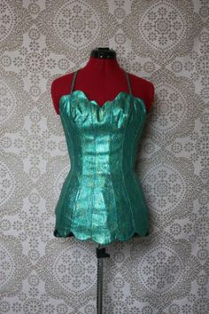 1950's Rose Marie Reid Green Lurex Mermaid Swimsuit Playsuit with Scalloped Hem