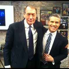 Charlie Rose and Andy Cohen in the CBS This Morning Greenroom