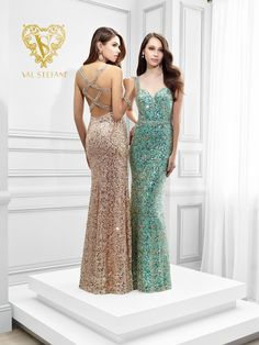 Val Stefani Prom - A shimmering sequined V-neck formal prom dress STYLE 2810RG #ipaprom