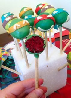 """Teenage Mutant Ninja Turtles"" Cake Pops"