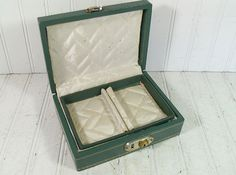 Vintage Teal Green Hard Shell 2 Piece Jewelry Box by DivineOrders, $14.00