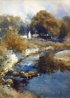 Craigdarroch Water (Landscape with river) watercolour, 1889 by James Paterson (Scottish 1854-1932)