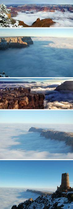 Rare weather phenomenon fills Grand Canyon with fog.